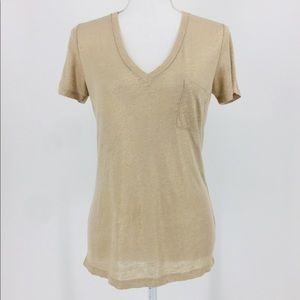 J. Crew Linen Metallic Gold Short Sleeve Tee